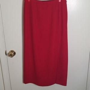 Karen Scott long red skirt with split